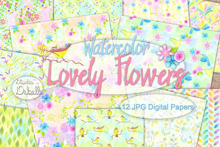 Watercolor Lovely Flowers - digital papers seamless patterns