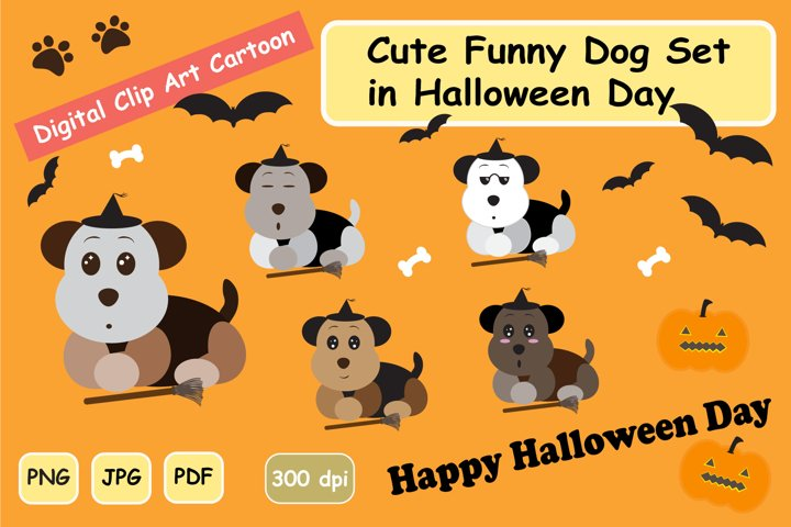 CUTE Funny DOG Halloween CLIPART GRAPHIC SET
