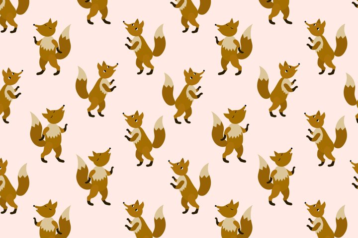 Cute minimalistic pattern with foxes on the pink background.