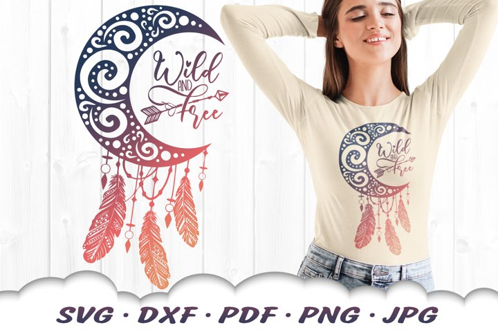 Wild And Free Spiral Dreamcatcher SVG DXF Cut Files