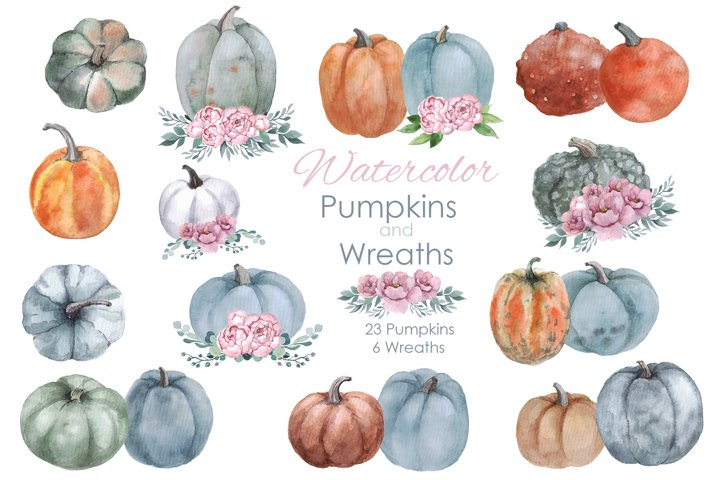 Fall Clipart. Pumpkin with flowers wreaths. Watercolor fall