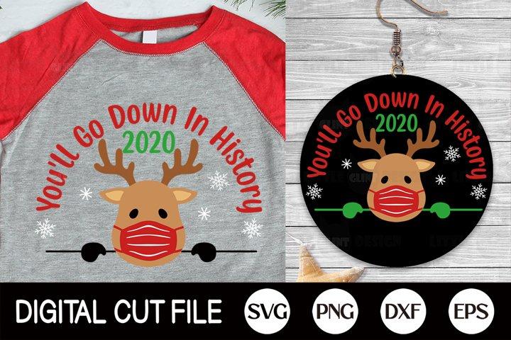 2020, Christmas Quarantine SVG, Reindeer svg, Covid Mask PNG