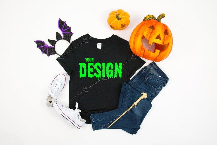Gildan 64000 Softstyle Black T-shirt Mockup for Halloween
