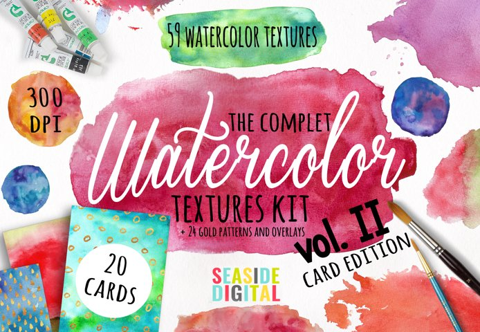 Watercolor Textures - card edition - Free Design of The Week Font