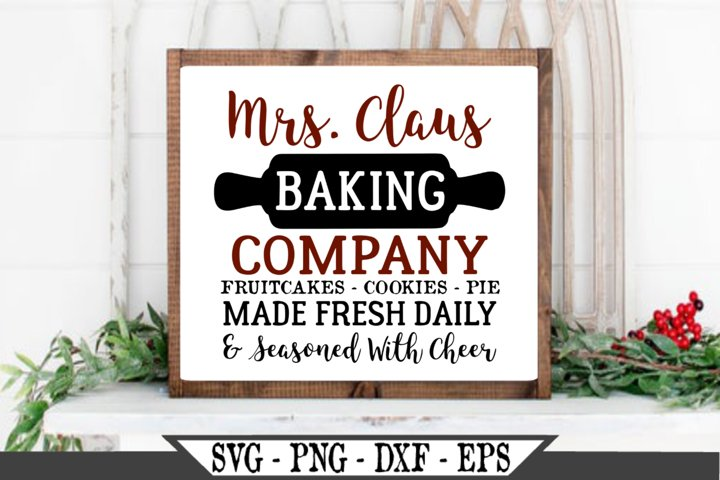 Merry Christmas Mrs Claus Baking Company SVG