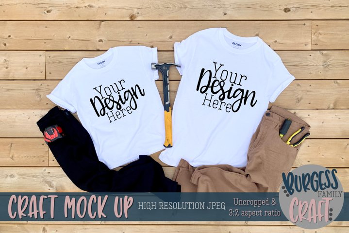 Parent and child white Gildan t-shirt |Craft mock up