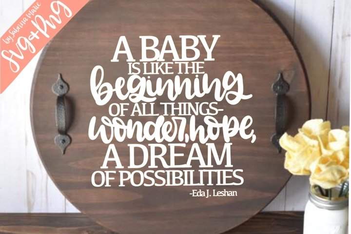 A Baby is the Beginning - Handdrawn Quote - SVG/PNG