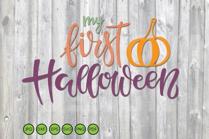 My First Halloween SVG Baby Halloween Quote with pumpkin