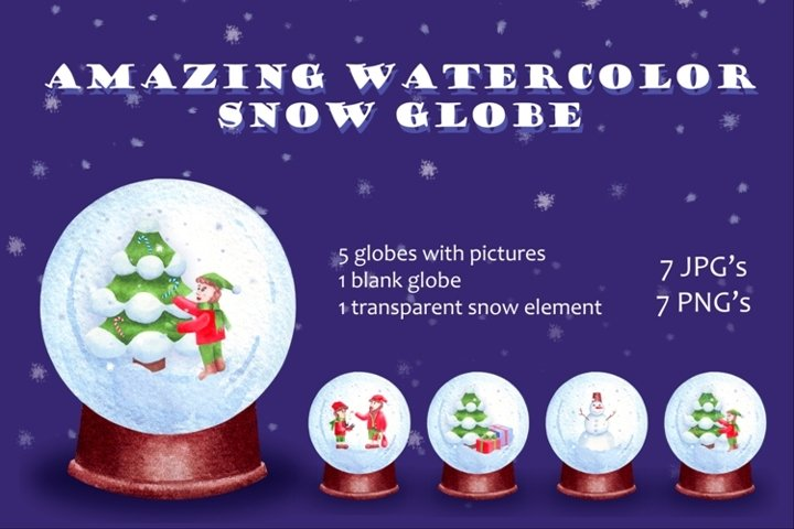 Christmas snow globe. Watercolor clipart set and mockup