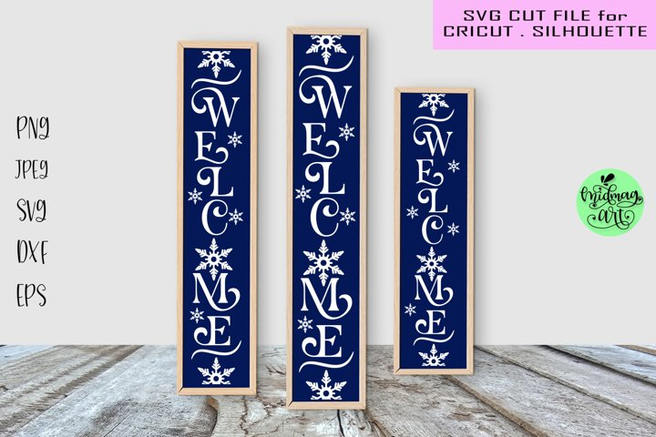 Welcome winter vertical sign svg, winter porch sign