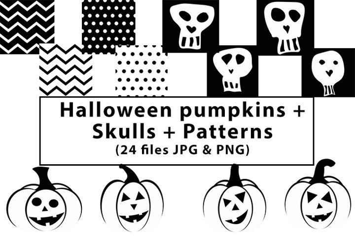 Bundle of Halloween pumpkins, Skulls, Patterns