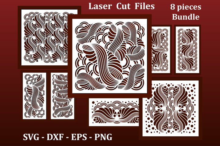 Laser cut Panels, files for CNC. Abstract geometric pattern