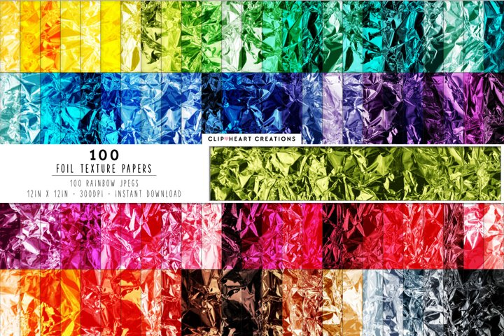 100 Foil Digital Papers in Rainbow Colors