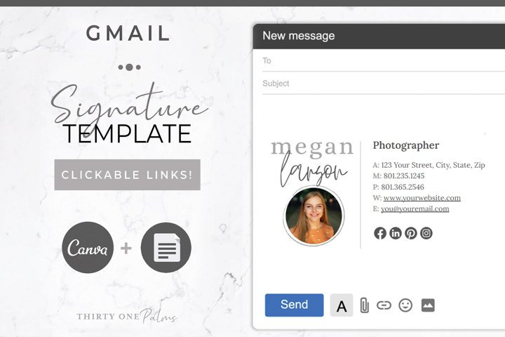 Email Signature for Canva & Gmail| White Linen