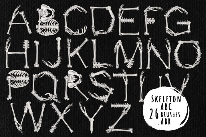 Skeleton alphabet- brushes for Photoshop, ProCreate .ABR