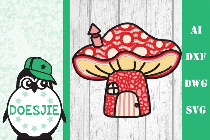 Gnome house toadstool 3D Layered mandala svg Multi layer