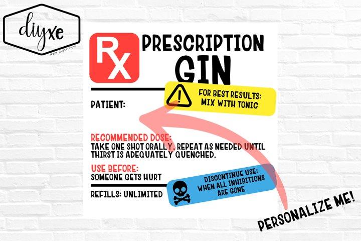 Prescription Gin Label - Sublimation Graphic