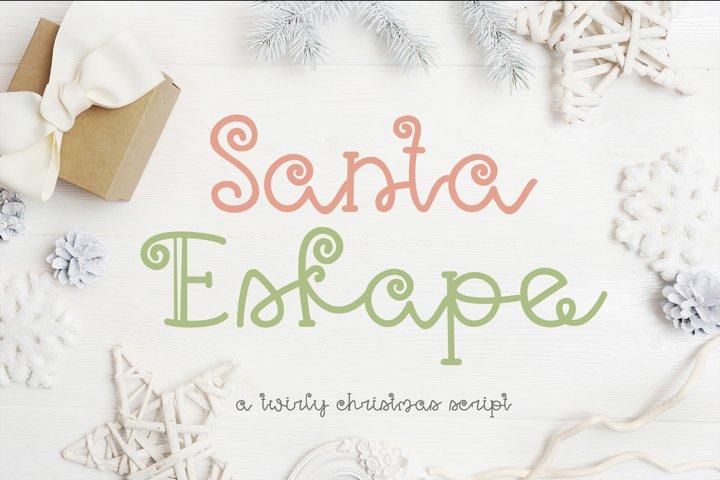 Santa Eskape| A cute swirly christmas font| Script Font