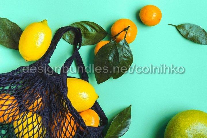 Citrus fruits in mesh textile bag
