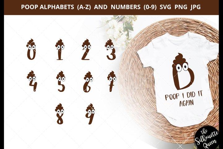 Poop Alphabet Number SVG Cut File