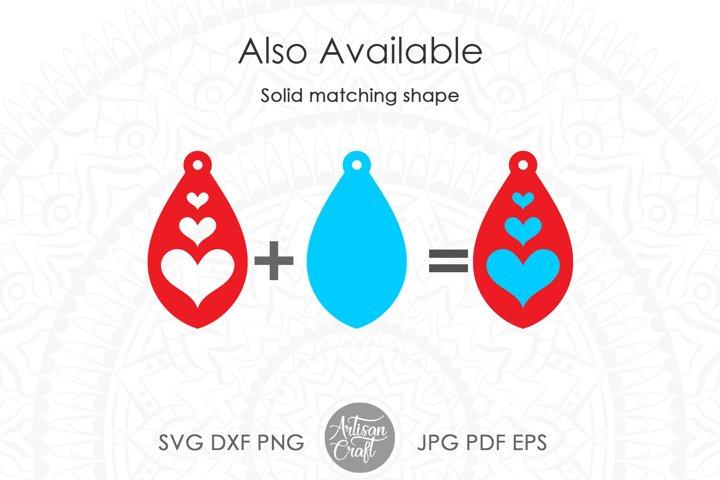 Tear drop earrings SVG, valentines jewelry, heart earrings example 1