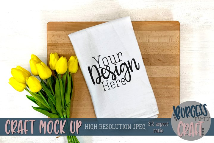 Spring flour sack towel | Craft mock up