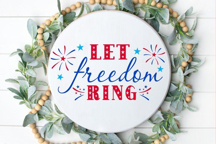 4th of July SVG Wreath Door Hanger SVG Let Freedom Ring SVG