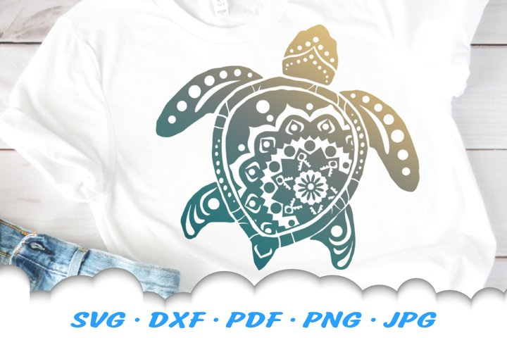 Mandala Sea Turtle SVG DXF Cut Files