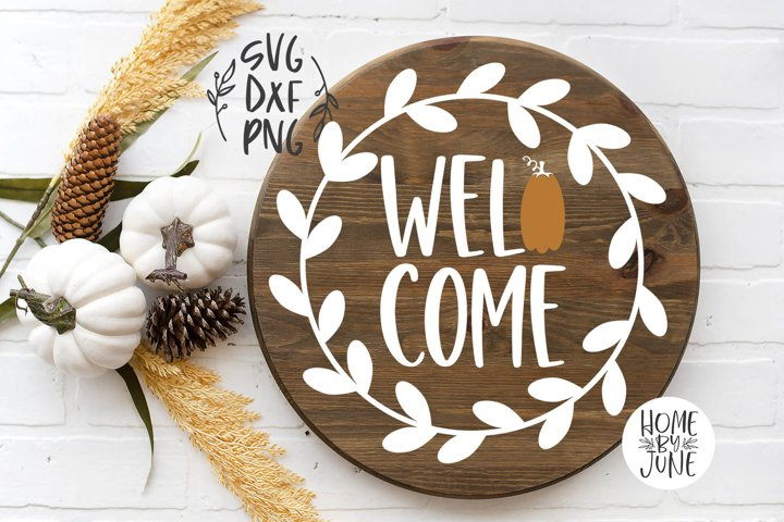 Welcome Pumpkin Round/Circle Fall Sign Decor