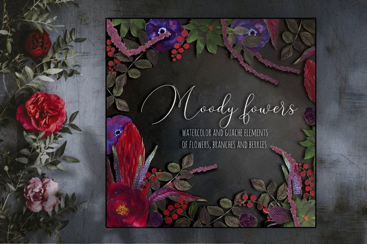 Moody flowers. Hand-drawn watercolor and guache set.