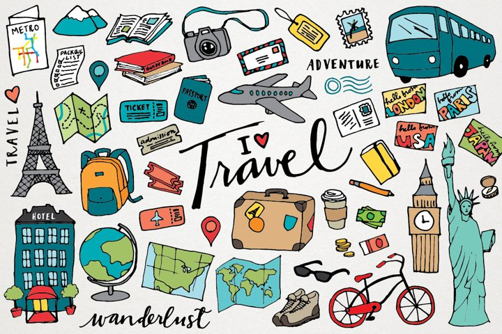 Travel Clipart Hand Drawn Illustrations