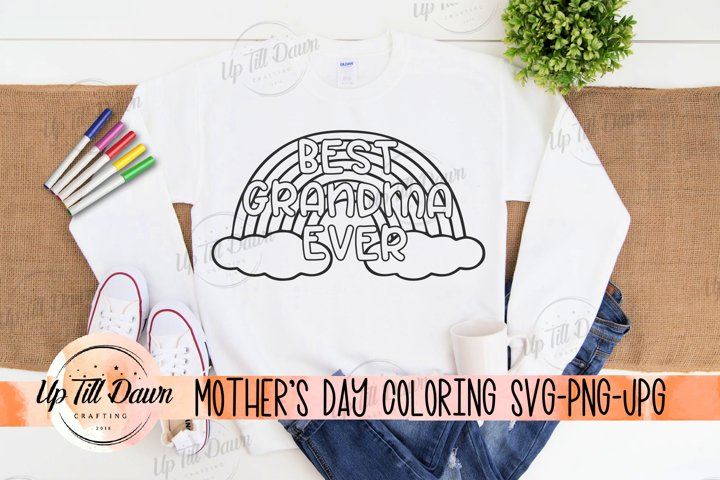 Mothers Day Coloring SVG, Rainbow Coloring, Best Grandma