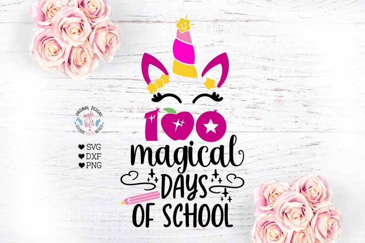 100 Magical Days of School - School Unicorn - Unicorn Face