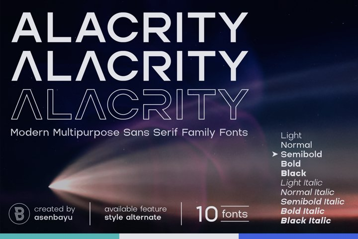 Alacrity - Modern Multipurpose Family Fonts