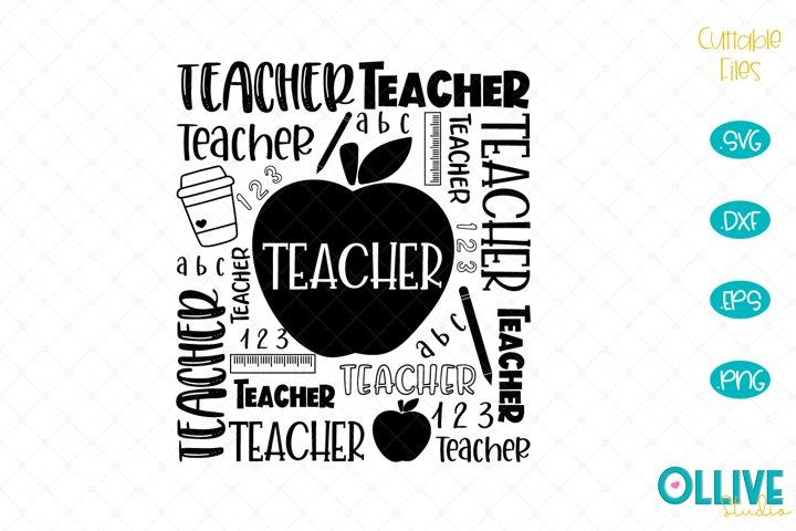 Teacher Word Art SVG