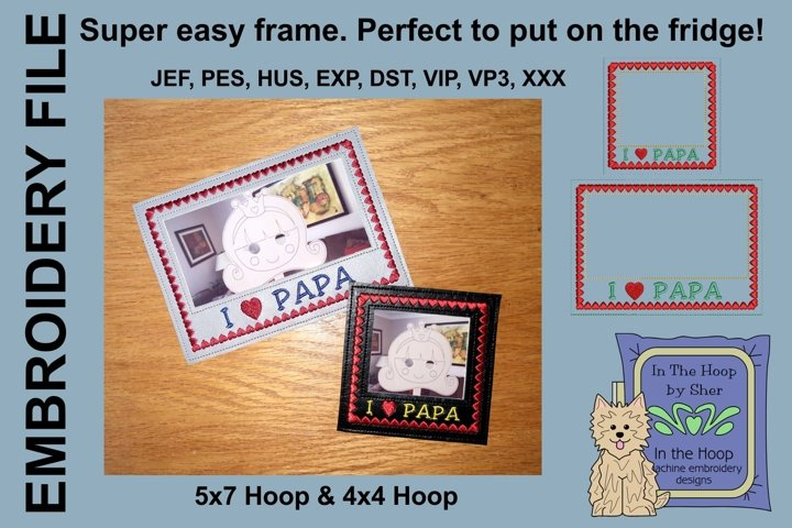 I Love Papa Picture Frames - 4 x 4 and 5 x 7 Hoops