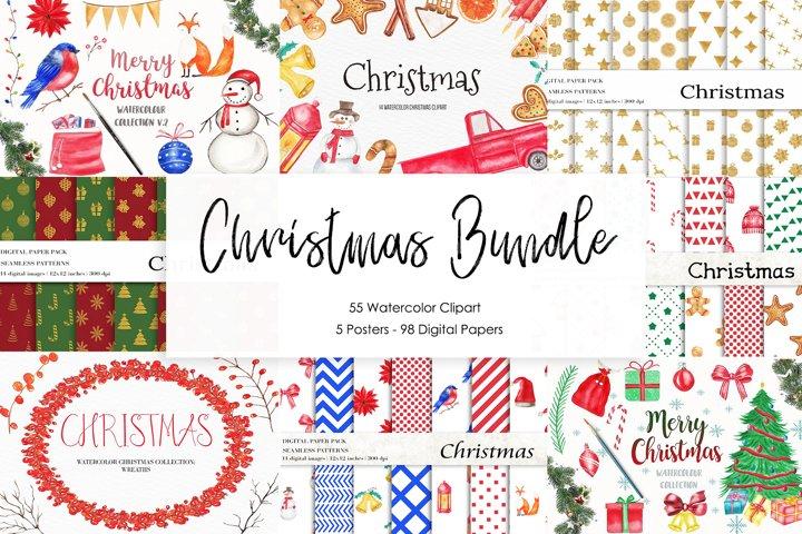 Watercolor Christmas Bundle, Christmas illustration