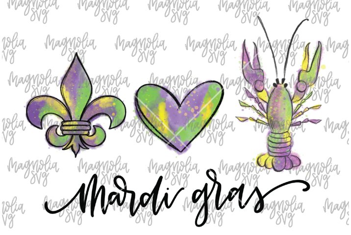 Peace Love and Mardi Gras Crawfish Graphic for Sublimation -