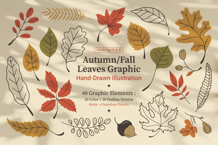 Autumn / Fall Hand-Drawn Leaves
