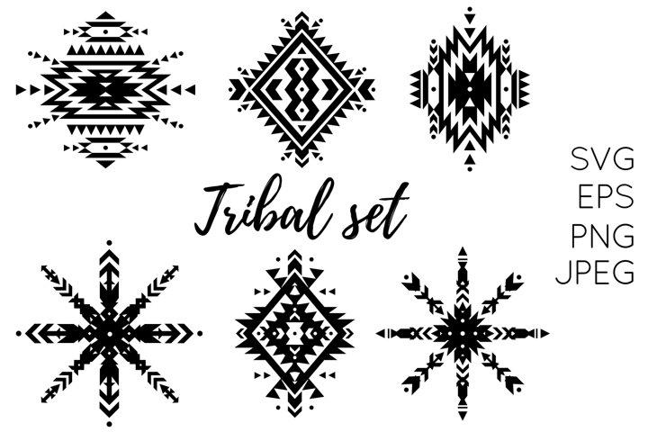 Set of 6 Tribal Aztec Ethnic Ornaments - PNG, EPS, JPEG, SVG