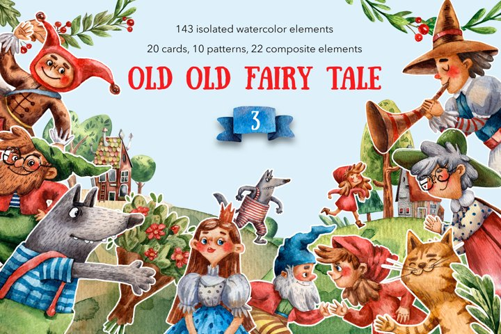 Old Old Fairy Tale 3 - Watercolor Clip Art Set