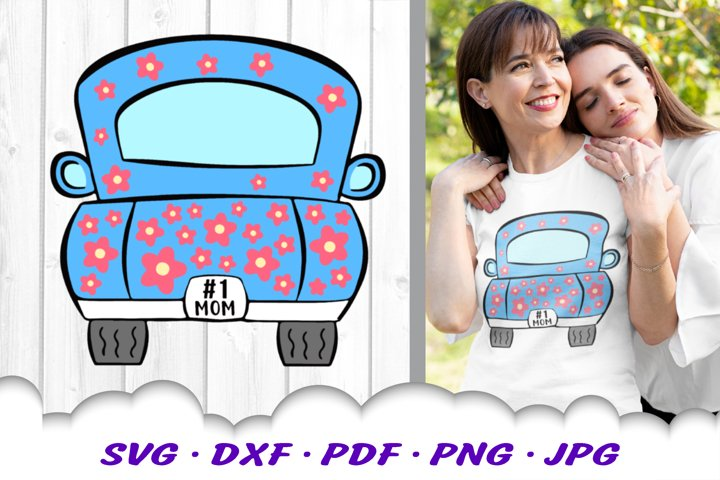 Mothers Day #1 Mom Truck Back Hearts SVG DXF Cut Files