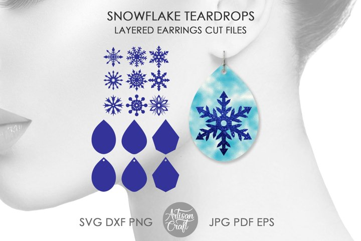 Earring SVG, Snowflake Earring SVG, cut files