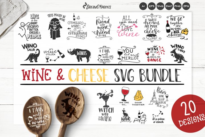 Wine and Cheese SVG Bundle | Wine SVG Bundle