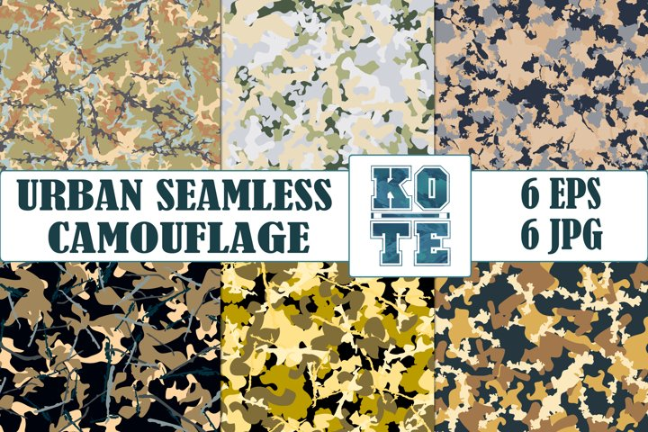 6 Seamless Military Urban Camouflage