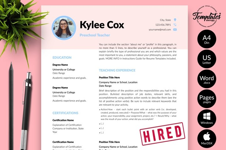 Teacher Resume CV Template for Word & Pages Kylie Cox