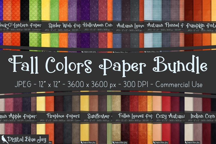 Digital Scrapbook Paper Backgrounds - Fall Colors Bundle