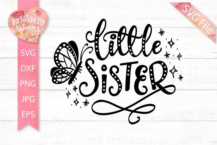 Little Sister SVG, Cute Shirt Design for Little Girls, Baby