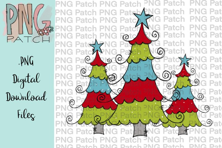 Curly Christmas Trees, Christmas PNG File, Sublimation