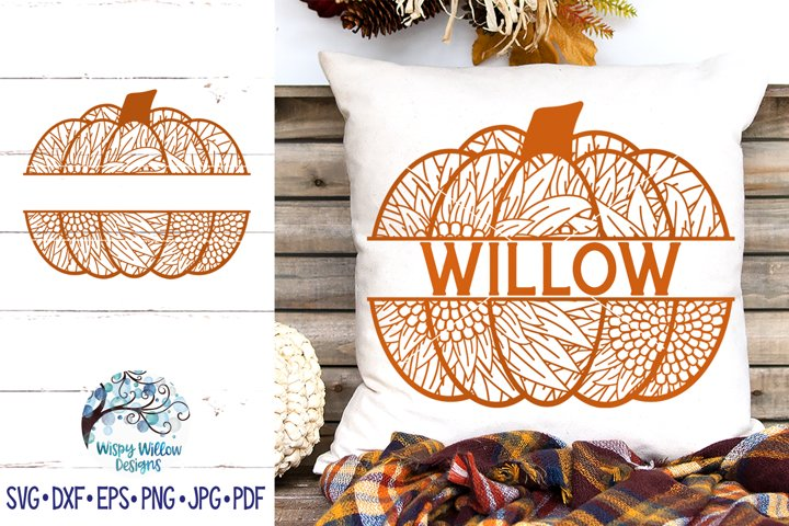 Sunflower Pumpkin Zentangle Split SVG | Fall Pumpkin Mandala